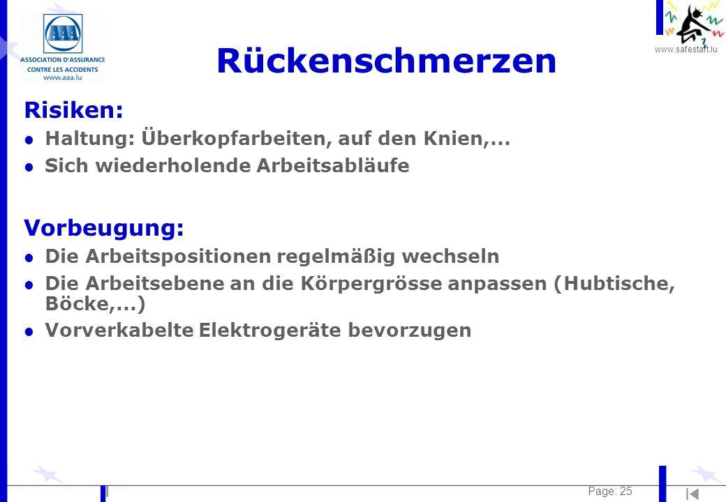 www.safestart.lu Page: 25 Rückenschmerzen Risiken: l Haltung: Überkopfarbeiten, auf den Knien,... l Sich wiederholende Arbeitsabläufe Vorbeugung: l Di
