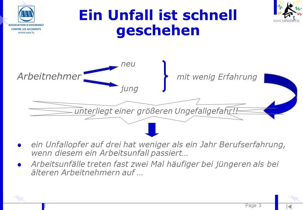 www.safestart.lu Page: 14 Strom Folgen des elektrischen Stroms: l Erschrecken anderer Unfall (z.B.