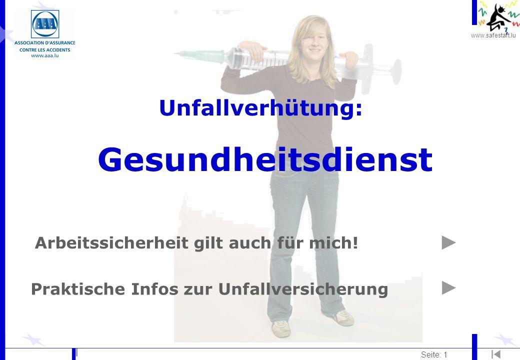 www.safestart.lu Seite: 32 Strahlung Risiko: l Strahlenmedizin (Röntgenstrahlung, radioaktive Isotope,...) l Laserstrahlen l...