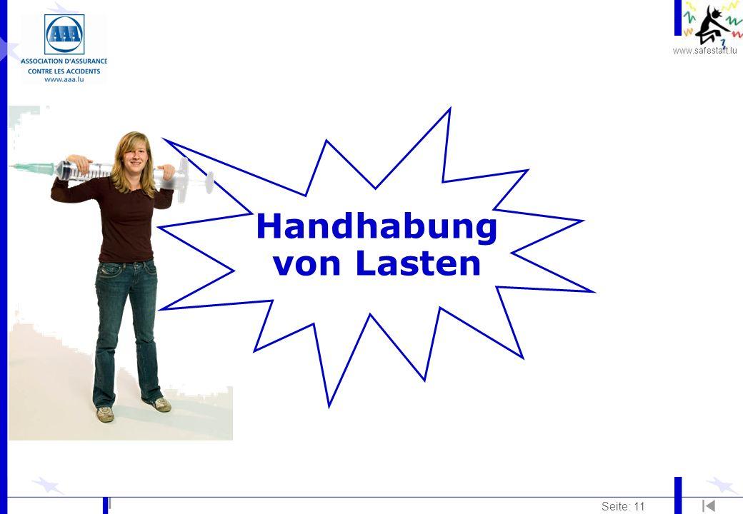www.safestart.lu Seite: 11 Handhabung von Lasten