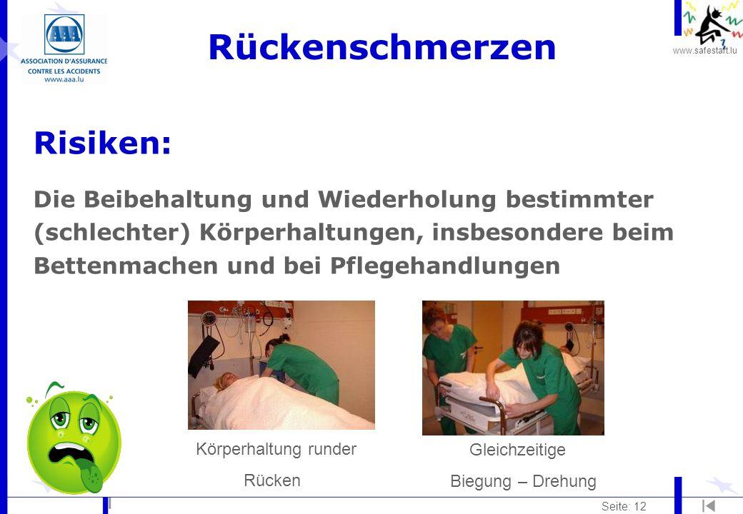 www.safestart.lu Seite: 12 Rückenschmerzen Risiken: Die Beibehaltung und Wiederholung bestimmter (schlechter) Körperhaltungen, insbesondere beim Bettenmachen und bei Pflegehandlungen Körperhaltung runder Rücken Gleichzeitige Biegung – Drehung