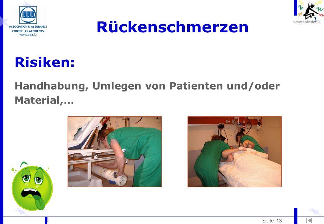 www.safestart.lu Seite: 13 Rückenschmerzen Risiken: Handhabung, Umlegen von Patienten und/oder Material,…