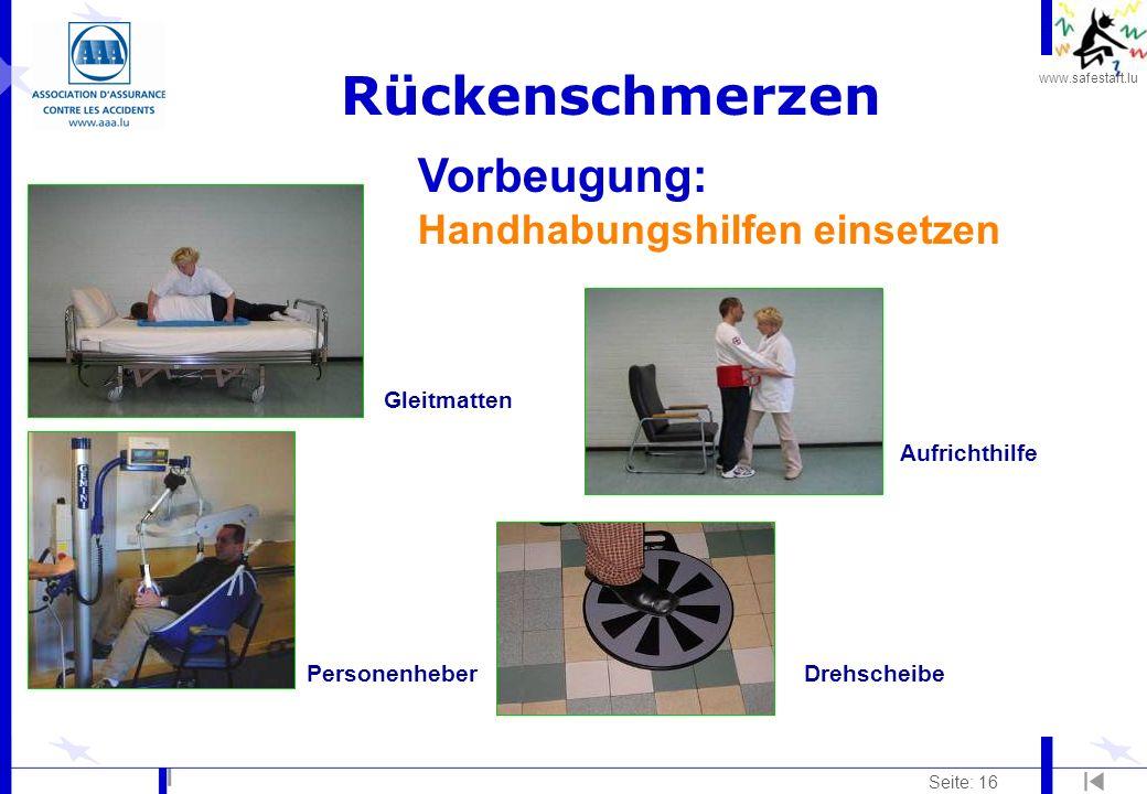 www.safestart.lu Seite: 16 Rückenschmerzen PersonenheberDrehscheibe Aufrichthilfe Gleitmatten Vorbeugung: Handhabungshilfen einsetzen
