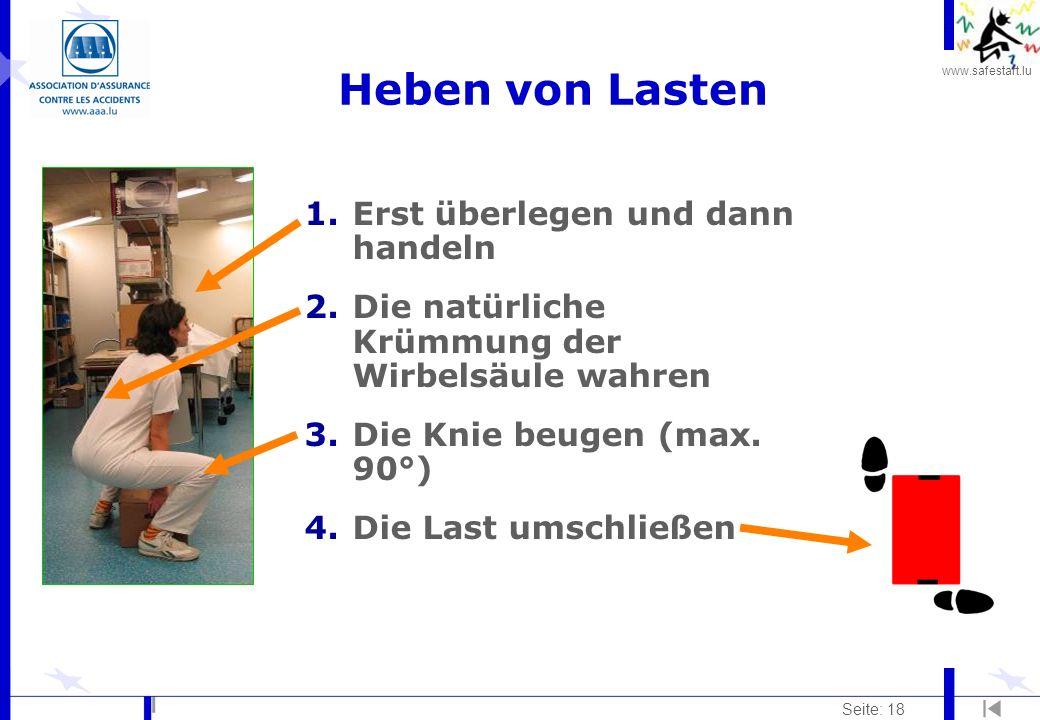 www.safestart.lu Seite: 18 1.Erst überlegen und dann handeln 2.Die natürliche Krümmung der Wirbelsäule wahren 3.Die Knie beugen (max. 90°) 4.Die Last