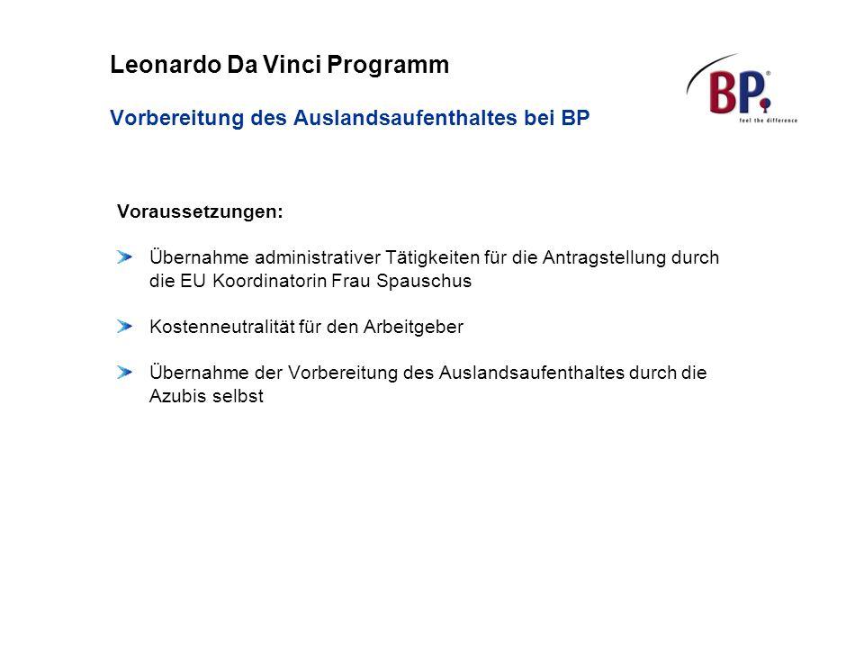 Leonardo Da Vinci Programm Vorbereitung des Auslandsaufenthaltes bei BP Voraussetzungen: Übernahme administrativer Tätigkeiten für die Antragstellung