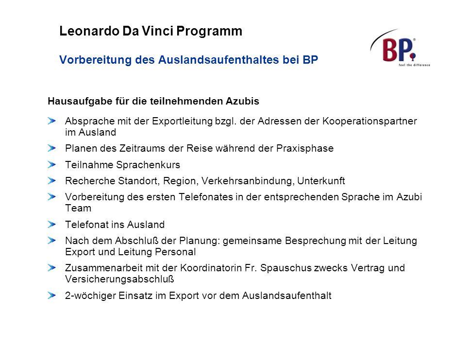 Leonardo Da Vinci Programm Vorbereitung des Auslandsaufenthaltes bei BP Hausaufgabe für die teilnehmenden Azubis Absprache mit der Exportleitung bzgl.