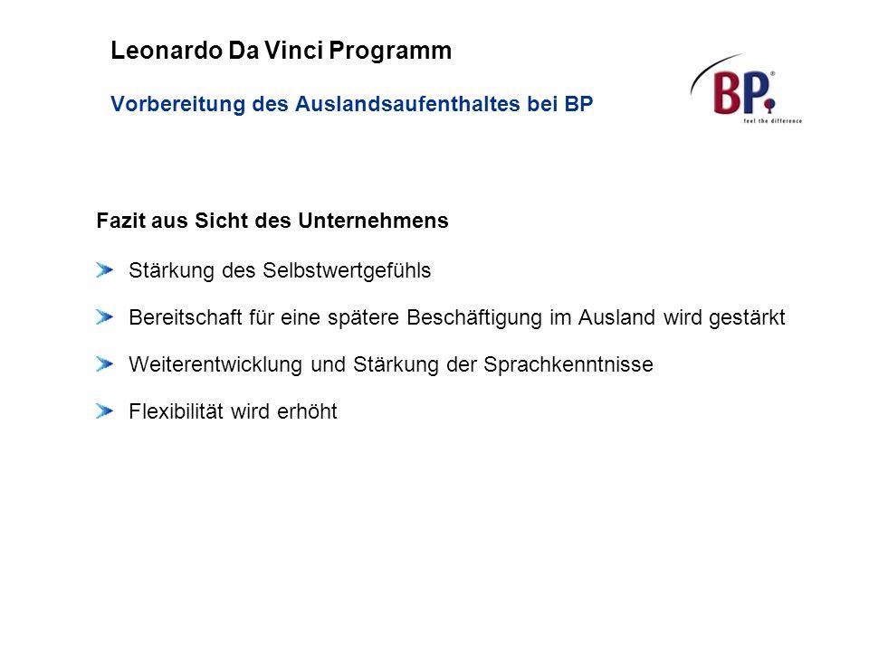 Leonardo Da Vinci Programm Vorbereitung des Auslandsaufenthaltes bei BP Fazit aus Sicht des Unternehmens Stärkung des Selbstwertgefühls Bereitschaft f