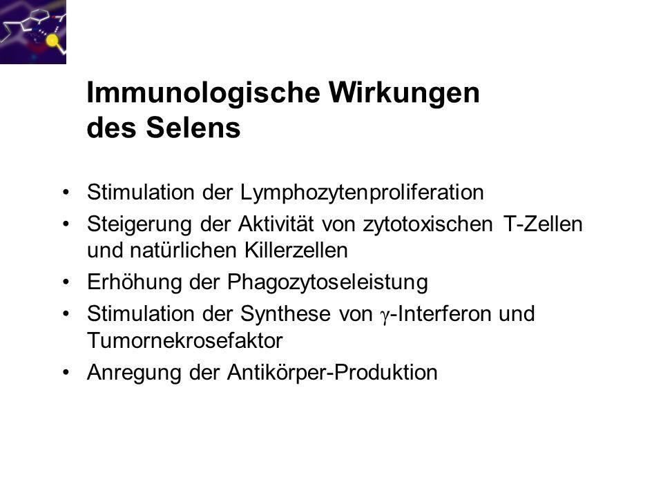 400 350 300 250 200 150 100 50 0 Effekt einer täglichen Supplementation von 200 µg Selen als Natriumselenit auf die Aktivität von NK-Zellen Nach Kiremidjian- Schumacher et al., 1994 LE/10 7 Zellen Selenit Placebo
