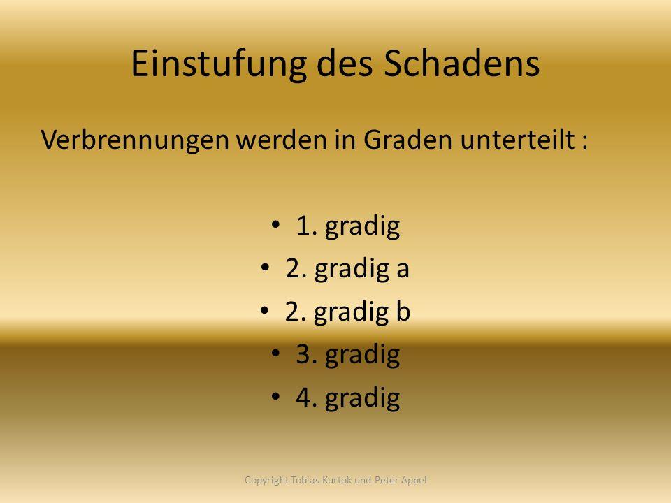 Einstufung des Schadens Verbrennungen werden in Graden unterteilt : 1. gradig 2. gradig a 2. gradig b 3. gradig 4. gradig Copyright Tobias Kurtok und