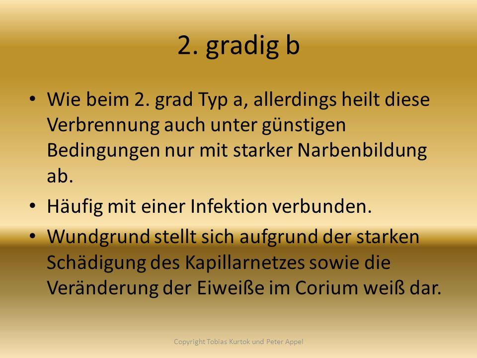 2. gradig b Wie beim 2. grad Typ a, allerdings heilt diese Verbrennung auch unter günstigen Bedingungen nur mit starker Narbenbildung ab. Häufig mit e