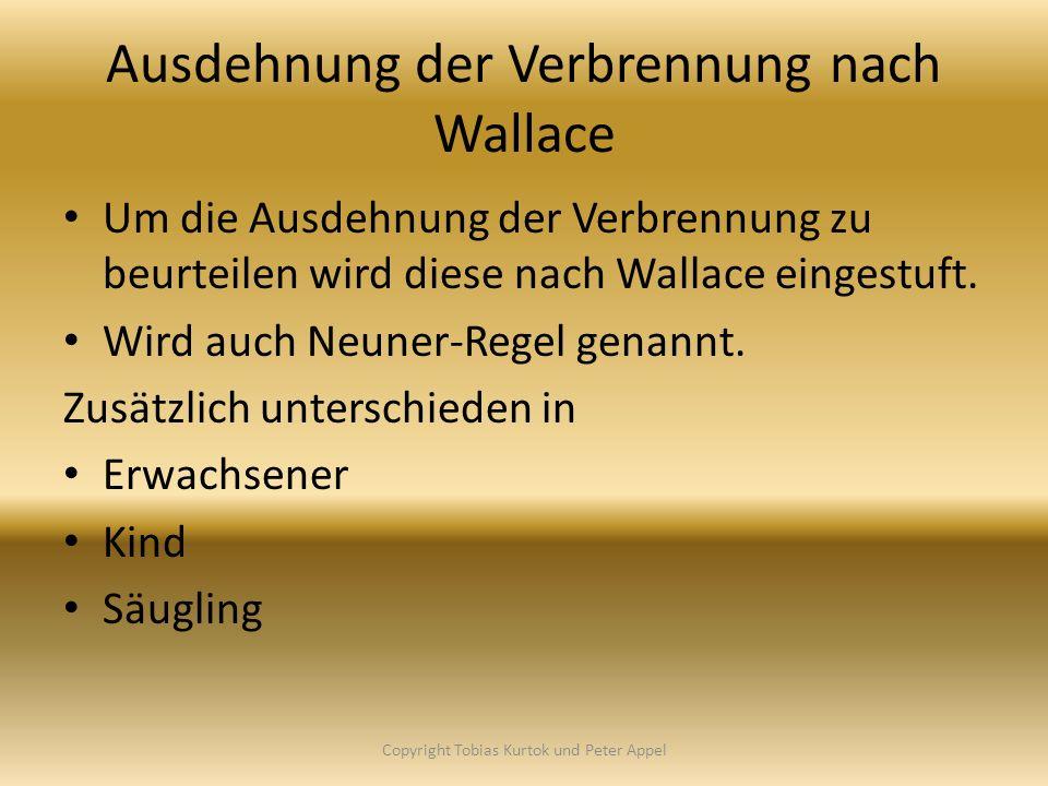 Ausdehnung der Verbrennung nach Wallace Um die Ausdehnung der Verbrennung zu beurteilen wird diese nach Wallace eingestuft. Wird auch Neuner-Regel gen