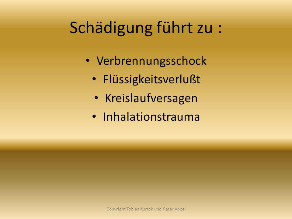 Schädigung führt zu : Verbrennungsschock Flüssigkeitsverlußt Kreislaufversagen Inhalationstrauma Copyright Tobias Kurtok und Peter Appel