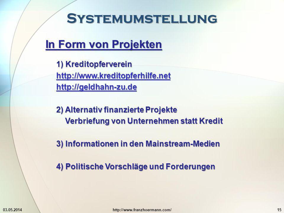 Systemumstellung 03.05.2014http://www.franzhoermann.com/15 In Form von Projekten 1) Kreditopferverein http://www.kreditopferhilfe.net http://geldhahn-