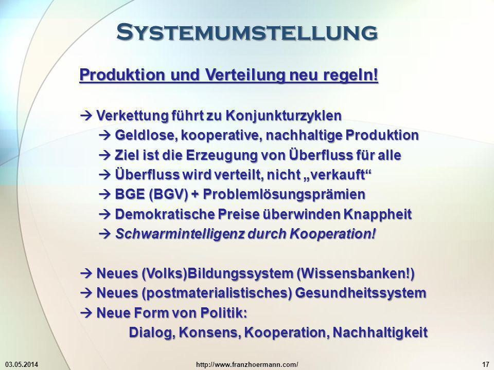 Systemumstellung 03.05.2014http://www.franzhoermann.com/17 Produktion und Verteilung neu regeln.