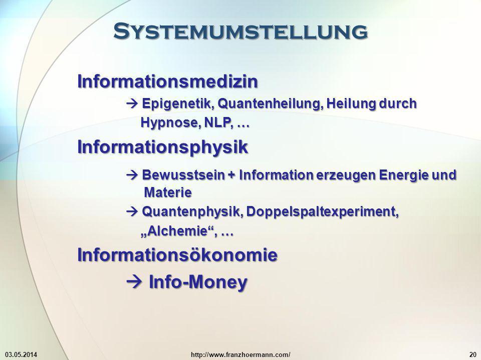 Systemumstellung 03.05.2014http://www.franzhoermann.com/20 Informationsmedizin Epigenetik, Quantenheilung, Heilung durch Epigenetik, Quantenheilung, H