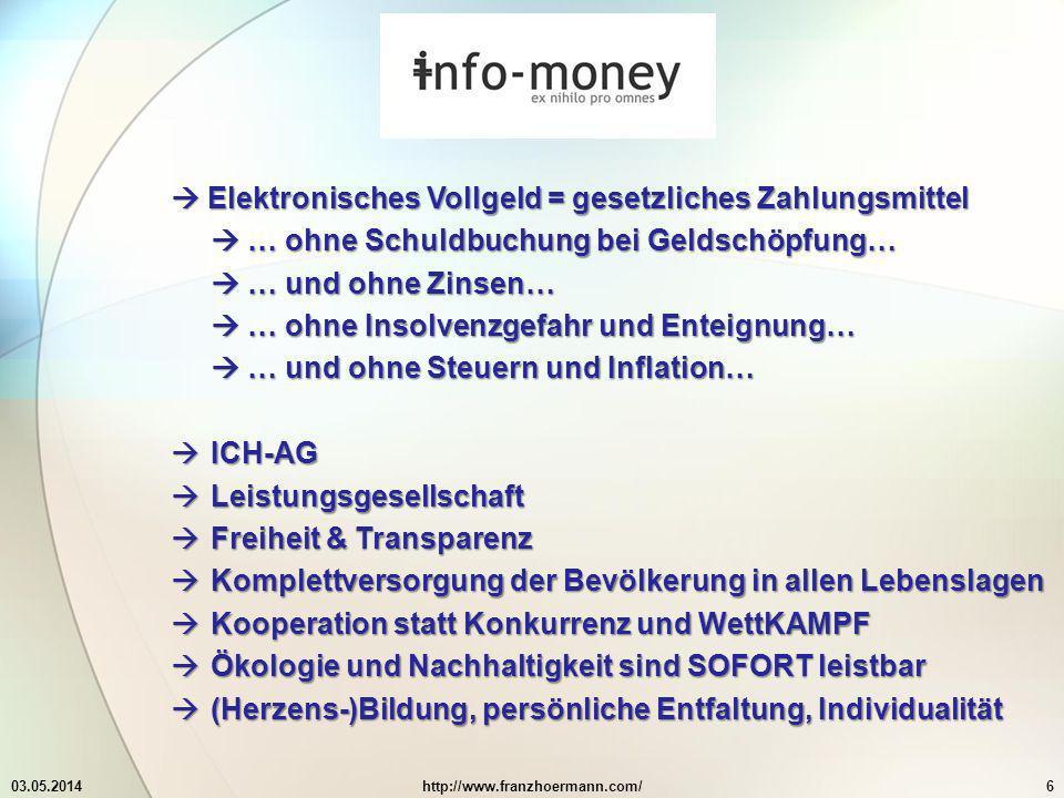 03.05.2014http://www.franzhoermann.com/6 Elektronisches Vollgeld = gesetzliches Zahlungsmittel Elektronisches Vollgeld = gesetzliches Zahlungsmittel … ohne Schuldbuchung bei Geldschöpfung… … ohne Schuldbuchung bei Geldschöpfung… … und ohne Zinsen… … und ohne Zinsen… … ohne Insolvenzgefahr und Enteignung… … ohne Insolvenzgefahr und Enteignung… … und ohne Steuern und Inflation… … und ohne Steuern und Inflation… ICH-AG ICH-AG Leistungsgesellschaft Leistungsgesellschaft Freiheit & Transparenz Freiheit & Transparenz Komplettversorgung der Bevölkerung in allen Lebenslagen Komplettversorgung der Bevölkerung in allen Lebenslagen Kooperation statt Konkurrenz und WettKAMPF Kooperation statt Konkurrenz und WettKAMPF Ökologie und Nachhaltigkeit sind SOFORT leistbar Ökologie und Nachhaltigkeit sind SOFORT leistbar (Herzens-)Bildung, persönliche Entfaltung, Individualität (Herzens-)Bildung, persönliche Entfaltung, Individualität