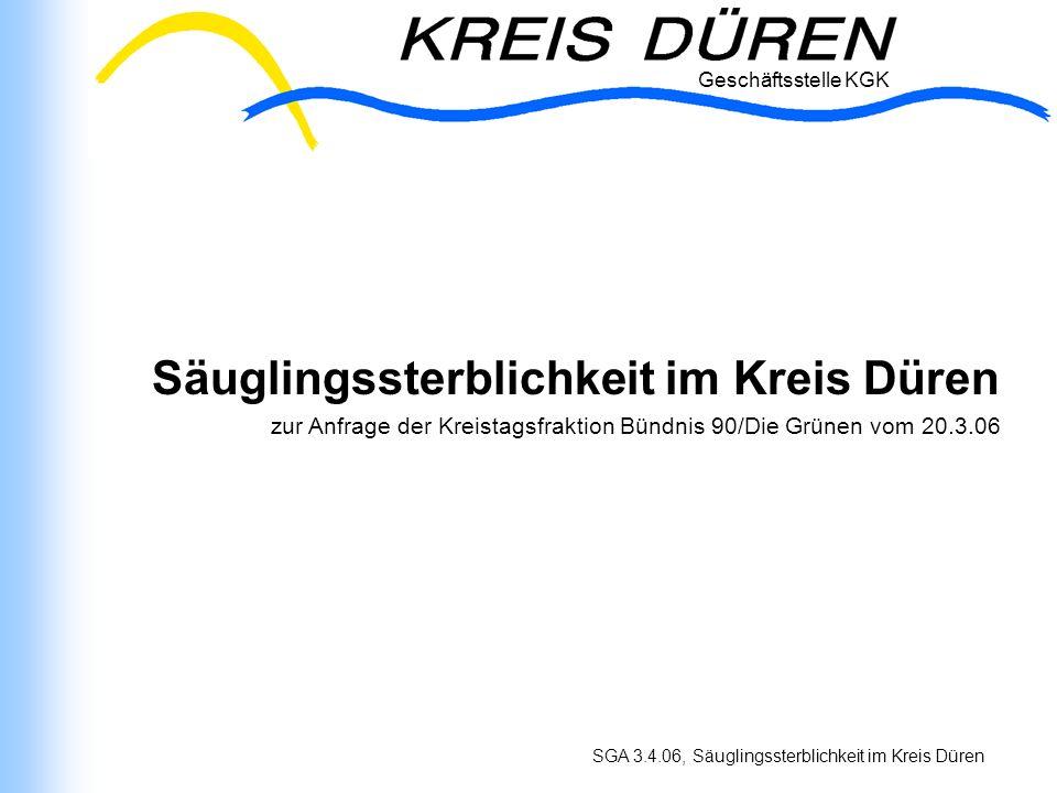 Geschäftsstelle KGK SGA 3.4.06, Säuglingssterblichkeit im Kreis Düren Hintergrund