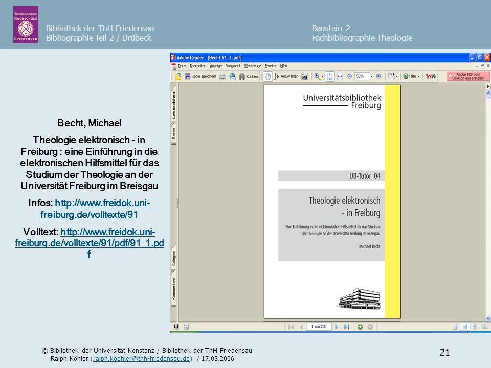 Bibliothek der ThH Friedensau Bibliographie Teil 2 / Drübeck © Bibliothek der Universität Konstanz / Bibliothek der ThH Friedensau Ralph Köhler (ralph