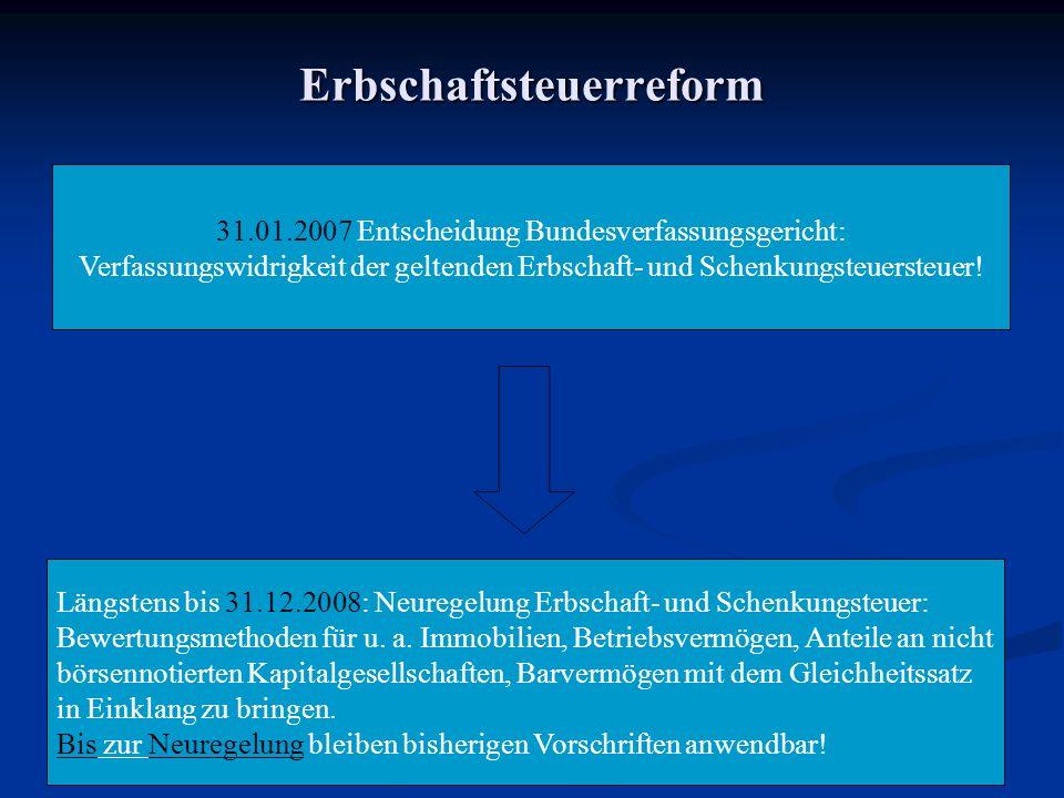 Erbschaftsteuerreform 31.01.2007 Entscheidung Bundesverfassungsgericht: Verfassungswidrigkeit der geltenden Erbschaft- und Schenkungsteuersteuer.