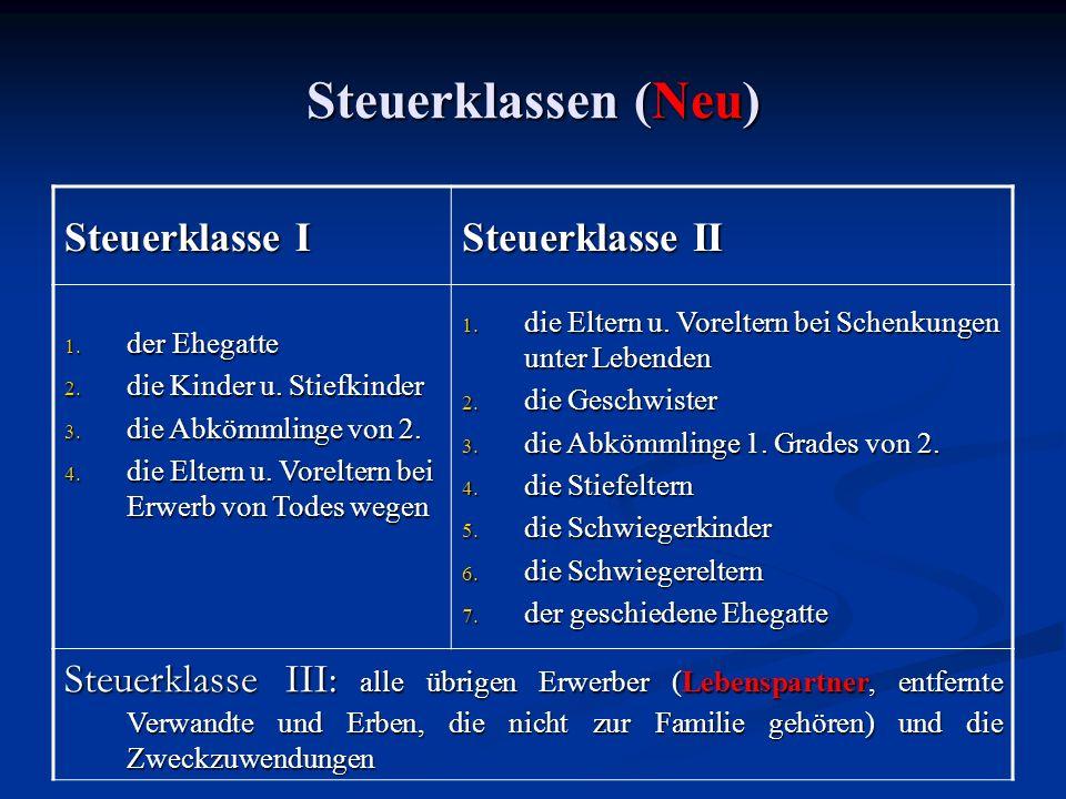 Steuerklassen (Neu) Steuerklasse I Steuerklasse II 1.