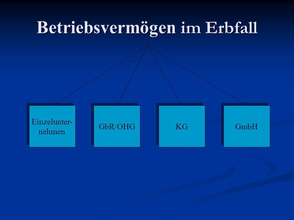 Betriebsvermögen im Erbfall Einzelunter- nehmen Einzelunter- nehmen GmbH KG GbR/OHG