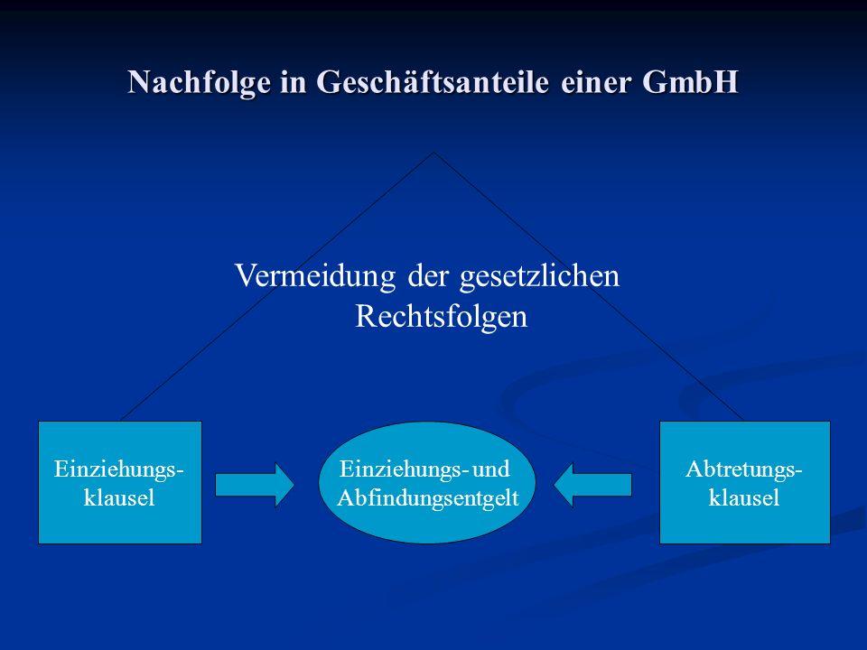 Nachfolge in Geschäftsanteile einer GmbH Einziehungs- klausel Abtretungs- klausel Einziehungs- und Abfindungsentgelt Vermeidung der gesetzlichen Recht
