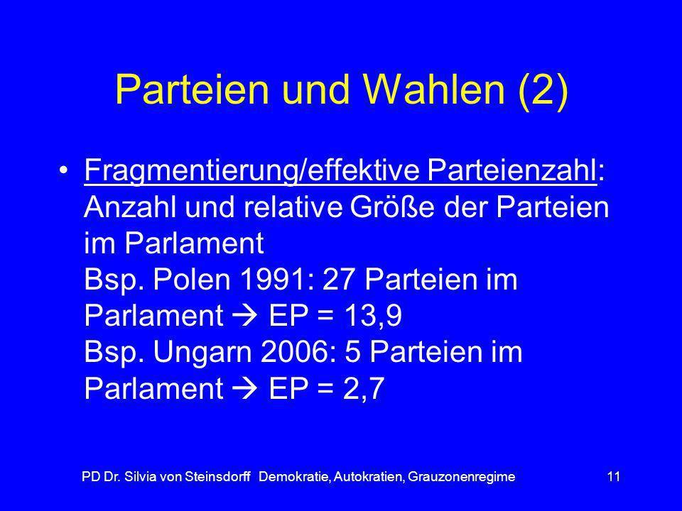PD Dr. Silvia von Steinsdorff Demokratie, Autokratien, Grauzonenregime11 Parteien und Wahlen (2) Fragmentierung/effektive Parteienzahl: Anzahl und rel