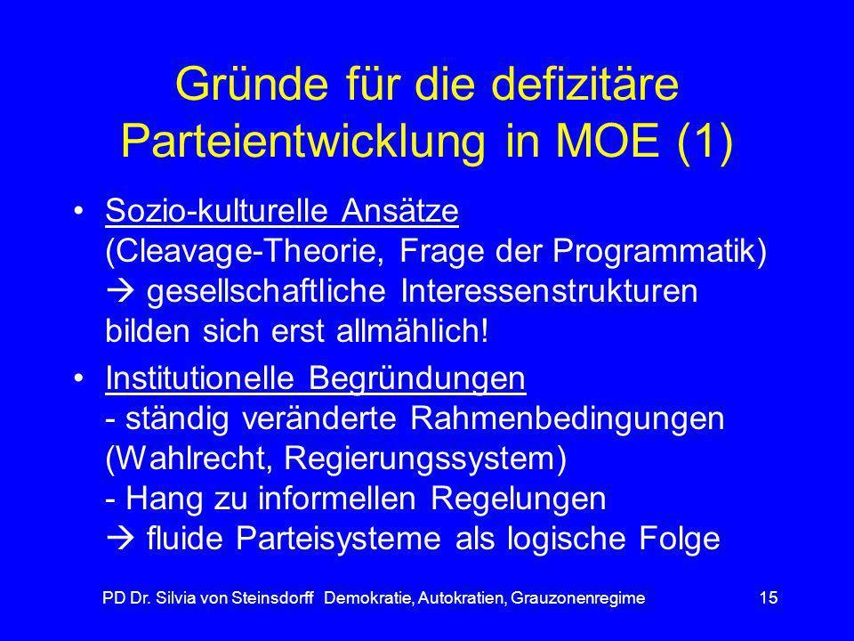 PD Dr. Silvia von Steinsdorff Demokratie, Autokratien, Grauzonenregime15 Gründe für die defizitäre Parteientwicklung in MOE (1) Sozio-kulturelle Ansät