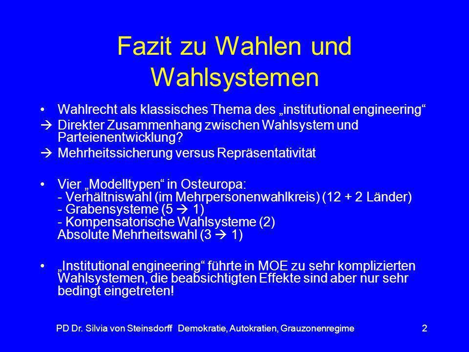 PD Dr. Silvia von Steinsdorff Demokratie, Autokratien, Grauzonenregime2 Fazit zu Wahlen und Wahlsystemen Wahlrecht als klassisches Thema des instituti