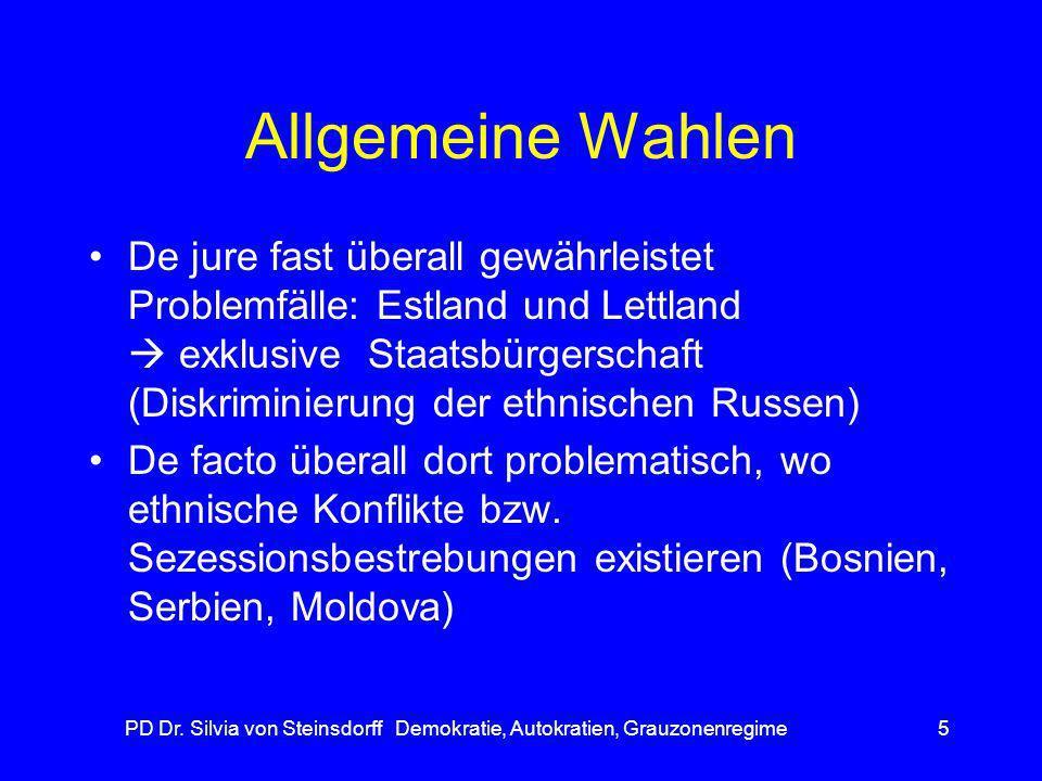 PD Dr. Silvia von Steinsdorff Demokratie, Autokratien, Grauzonenregime5 Allgemeine Wahlen De jure fast überall gewährleistet Problemfälle: Estland und