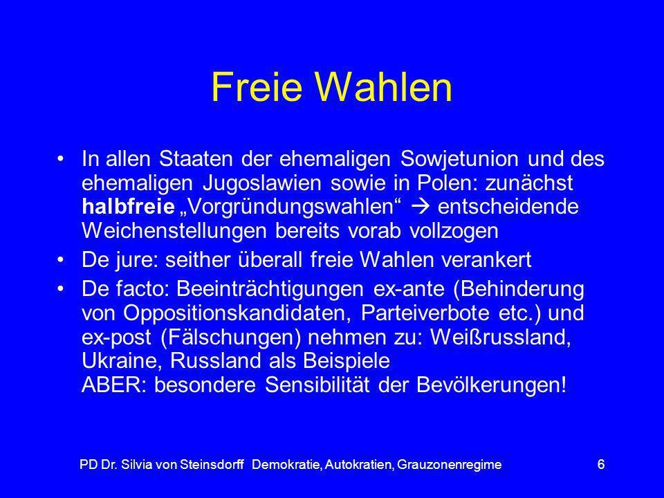 PD Dr. Silvia von Steinsdorff Demokratie, Autokratien, Grauzonenregime6 Freie Wahlen In allen Staaten der ehemaligen Sowjetunion und des ehemaligen Ju