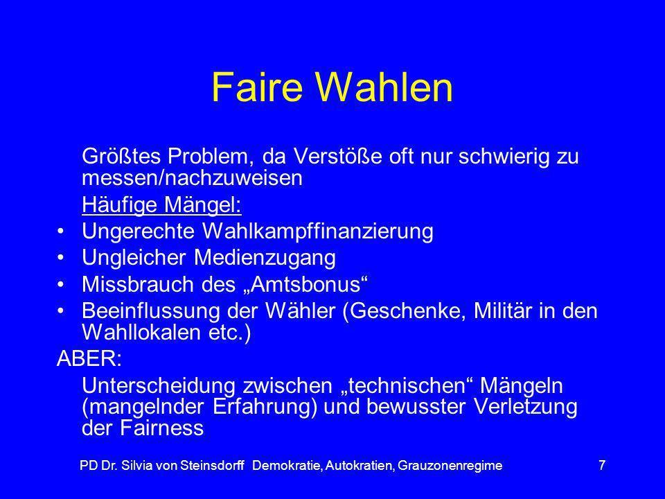 PD Dr. Silvia von Steinsdorff Demokratie, Autokratien, Grauzonenregime7 Faire Wahlen Größtes Problem, da Verstöße oft nur schwierig zu messen/nachzuwe