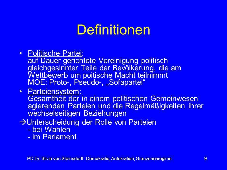 PD Dr. Silvia von Steinsdorff Demokratie, Autokratien, Grauzonenregime9 Definitionen Politische Partei: auf Dauer gerichtete Vereinigung politisch gle