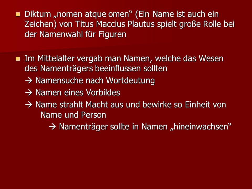 Diktum nomen atque omen (Ein Name ist auch ein Zeichen) von Titus Maccius Plautus spielt große Rolle bei der Namenwahl für Figuren Diktum nomen atque
