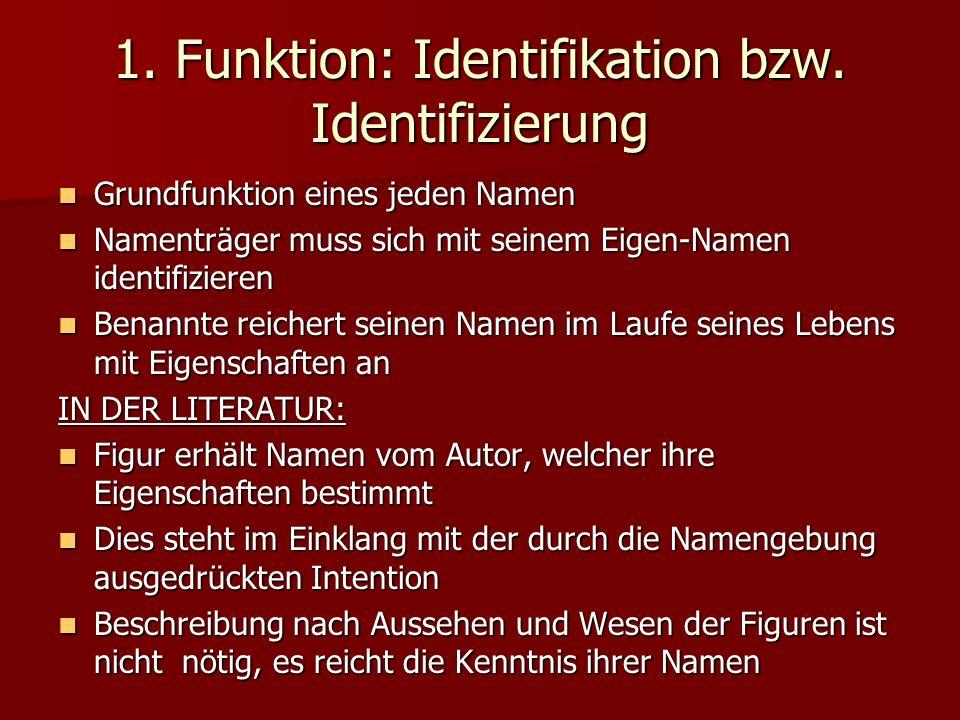 1. Funktion: Identifikation bzw. Identifizierung Grundfunktion eines jeden Namen Grundfunktion eines jeden Namen Namenträger muss sich mit seinem Eige