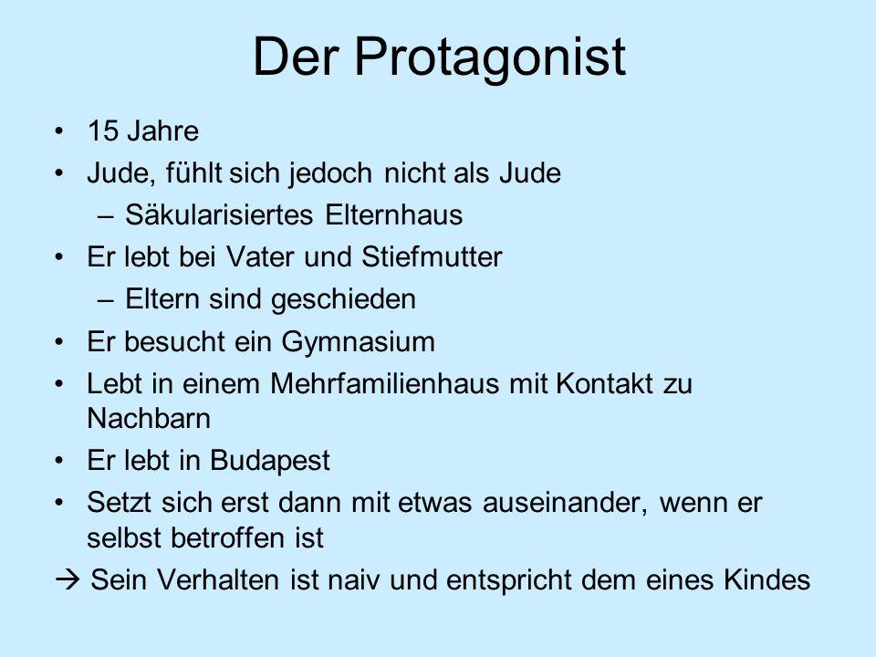 Der Protagonist 15 Jahre Jude, fühlt sich jedoch nicht als Jude –Säkularisiertes Elternhaus Er lebt bei Vater und Stiefmutter –Eltern sind geschieden