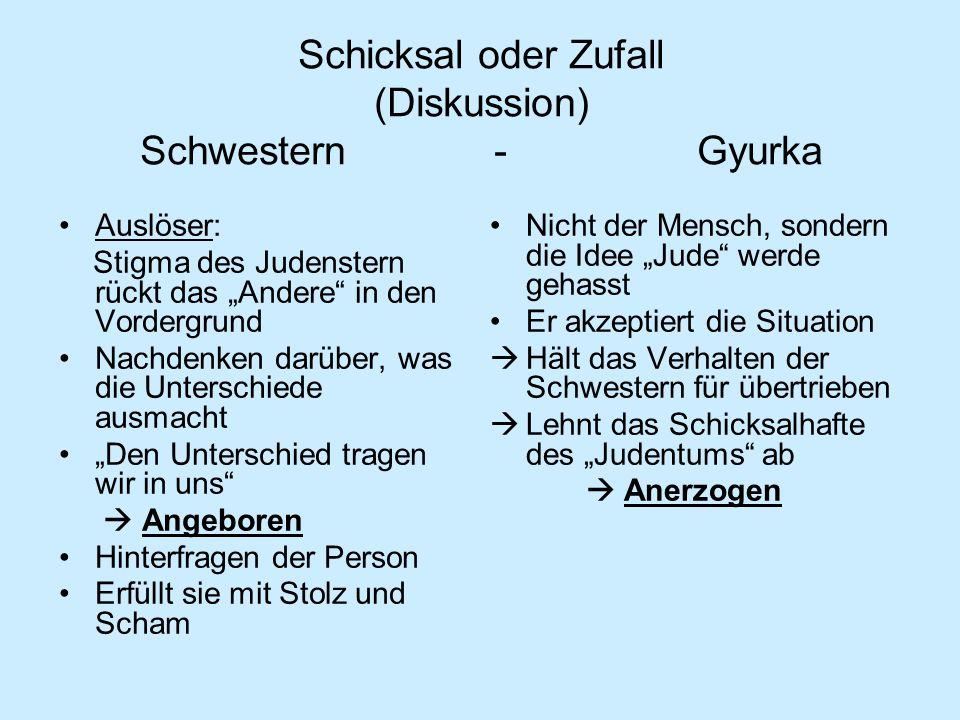 Schicksal oder Zufall (Diskussion) Schwestern - Gyurka Auslöser: Stigma des Judenstern rückt das Andere in den Vordergrund Nachdenken darüber, was die