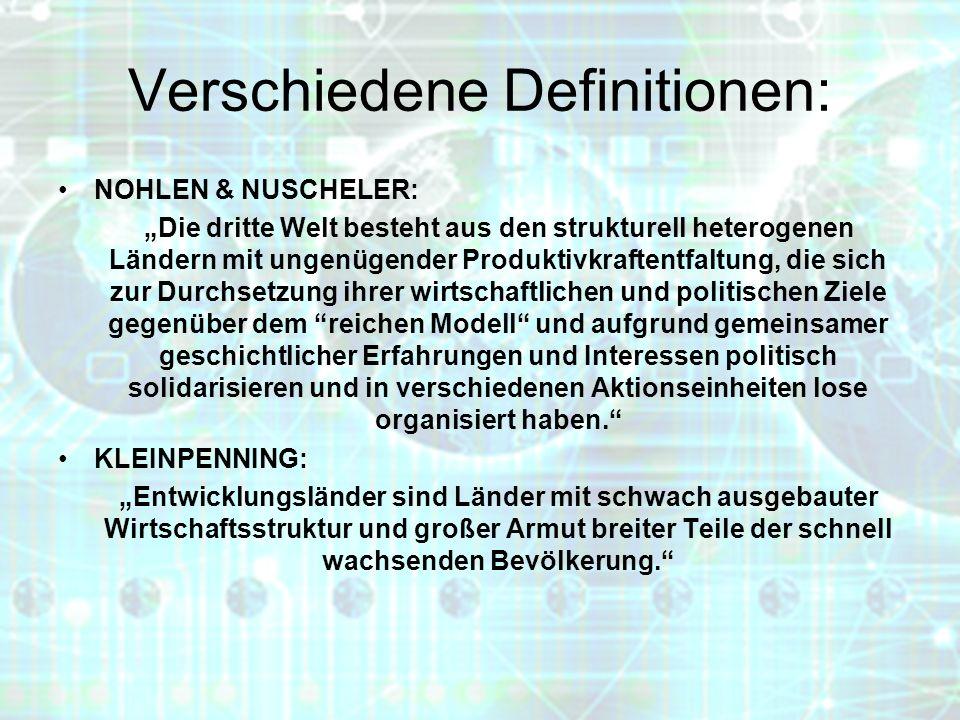 Verschiedene Definitionen: NOHLEN & NUSCHELER: Die dritte Welt besteht aus den strukturell heterogenen Ländern mit ungenügender Produktivkraftentfaltu