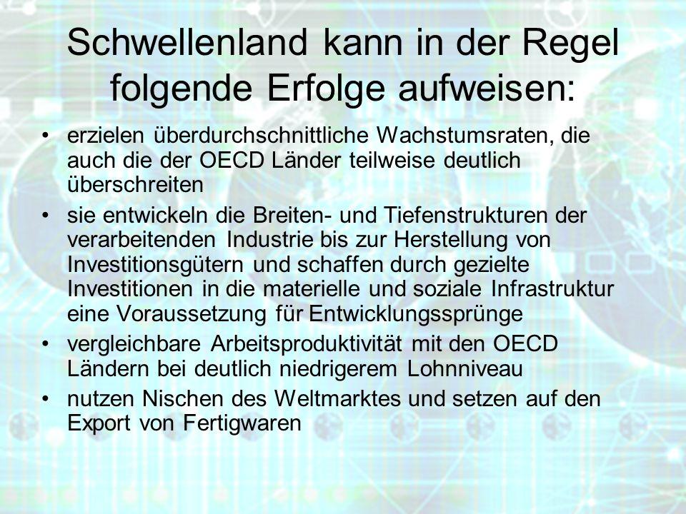 Schwellenland kann in der Regel folgende Erfolge aufweisen: erzielen überdurchschnittliche Wachstumsraten, die auch die der OECD Länder teilweise deut