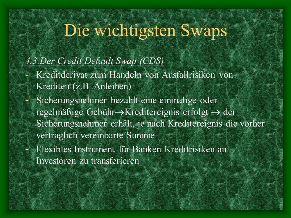 Die wichtigsten Swaps 4.3.Der Credit Default Swap (CDS) - Kreditderivat zum Handeln von Ausfallrisiken von Krediten (z.B. Anleihen) - Sicherungsnehmer