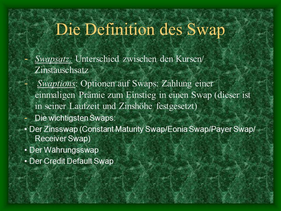 Die Definition des Swap - Swapsatz: Unterschied zwischen den Kursen/ Zinstauschsatz - Swaptions: Optionen auf Swaps: Zahlung einer einmaligen Prämie z