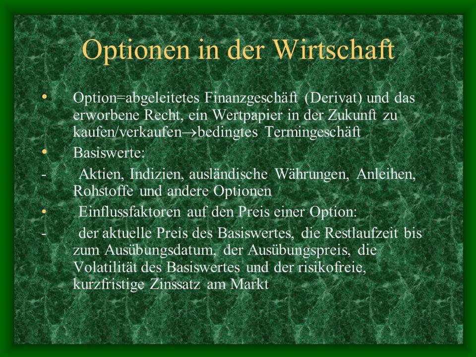 Optionen in der Wirtschaft Option=abgeleitetes Finanzgeschäft (Derivat) und das erworbene Recht, ein Wertpapier in der Zukunft zu kaufen/verkaufen bed