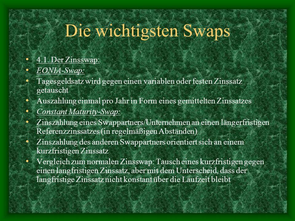 Die wichtigsten Swaps 4.1. Der Zinsswap: EONIA-Swap: Tagesgeldsatz wird gegen einen variablen oder festen Zinssatz getauscht Auszahlung einmal pro Jah