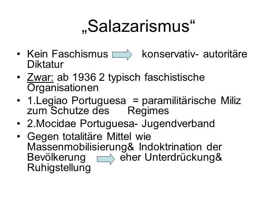 Salazarismus Kein Faschismus konservativ- autoritäre Diktatur Zwar: ab 1936 2 typisch faschistische Organisationen 1.Legiao Portuguesa = paramilitäris
