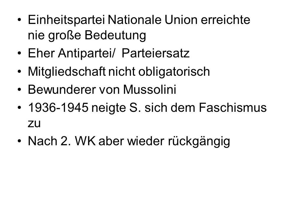 Einheitspartei Nationale Union erreichte nie große Bedeutung Eher Antipartei/ Parteiersatz Mitgliedschaft nicht obligatorisch Bewunderer von Mussolini