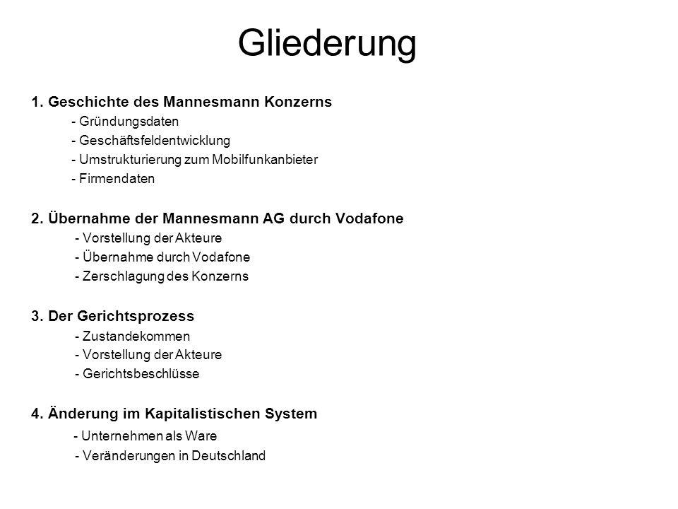 Gliederung 1. Geschichte des Mannesmann Konzerns - Gründungsdaten - Geschäftsfeldentwicklung - Umstrukturierung zum Mobilfunkanbieter - Firmendaten 2.