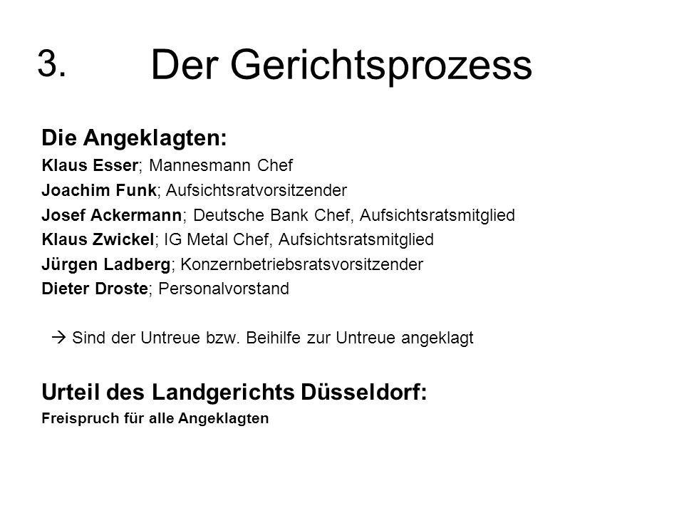 Der Gerichtsprozess Die Angeklagten: Klaus Esser; Mannesmann Chef Joachim Funk; Aufsichtsratvorsitzender Josef Ackermann; Deutsche Bank Chef, Aufsicht