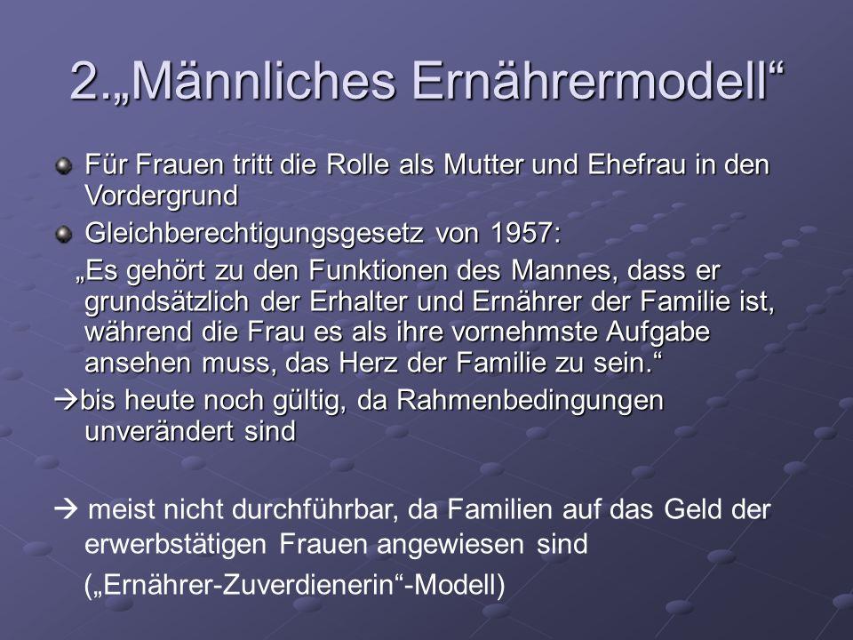 2.Männliches Ernährermodell Für Frauen tritt die Rolle als Mutter und Ehefrau in den Vordergrund Gleichberechtigungsgesetz von 1957: Es gehört zu den
