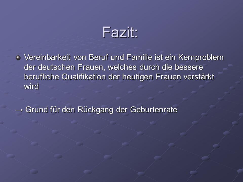 Fazit: Vereinbarkeit von Beruf und Familie ist ein Kernproblem der deutschen Frauen, welches durch die bessere berufliche Qualifikation der heutigen F