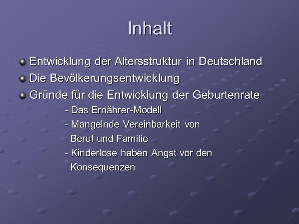 Inhalt Entwicklung der Altersstruktur in Deutschland Die Bevölkerungsentwicklung Gründe für die Entwicklung der Geburtenrate - Das Ernährer-Modell - D